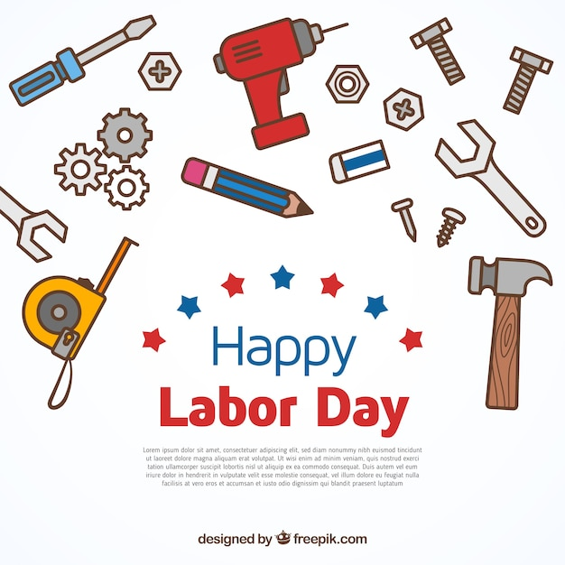 Labor day design with tools Free Vector