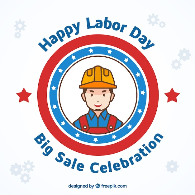 Labor day design with worker badge