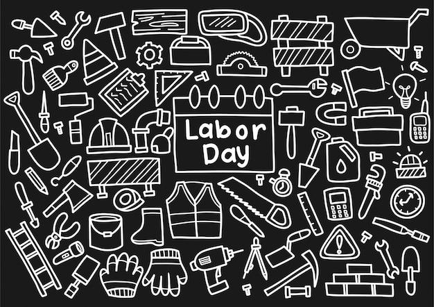 Labor day doodle elements Premium Vector