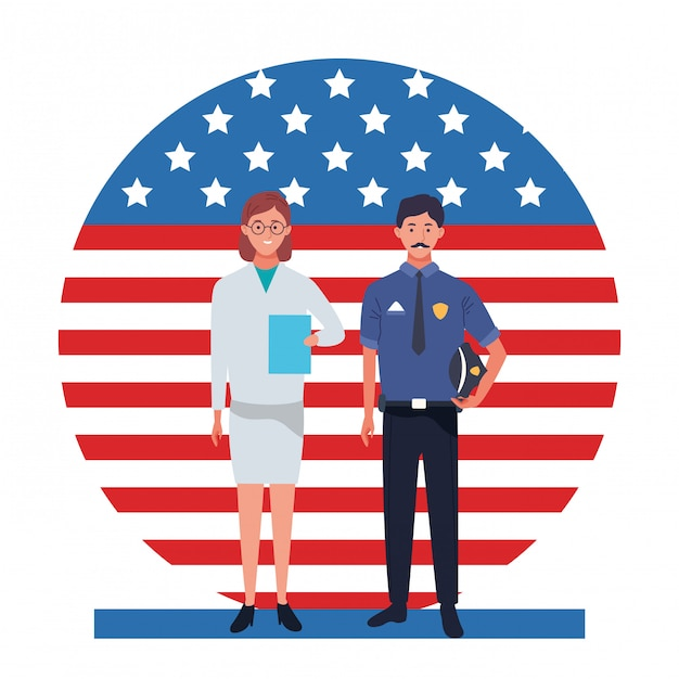 Labor day employment occupation national celebration, doctor woman with police man workers in front american united states flag illustration Premium Vector
