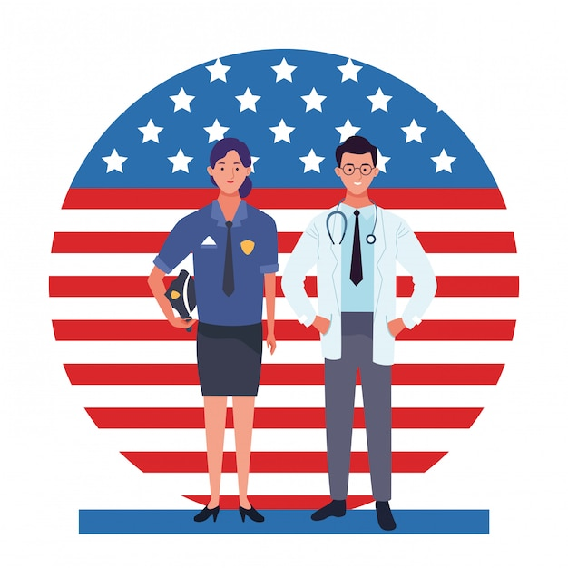 Labor day employment occupation national celebration, police woman with doctor workers in front american united states flag illustration Premium Vector