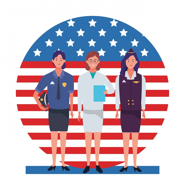Labor day employment occupation national celebration professionals workers in front american united states flag illustration Premium Vector