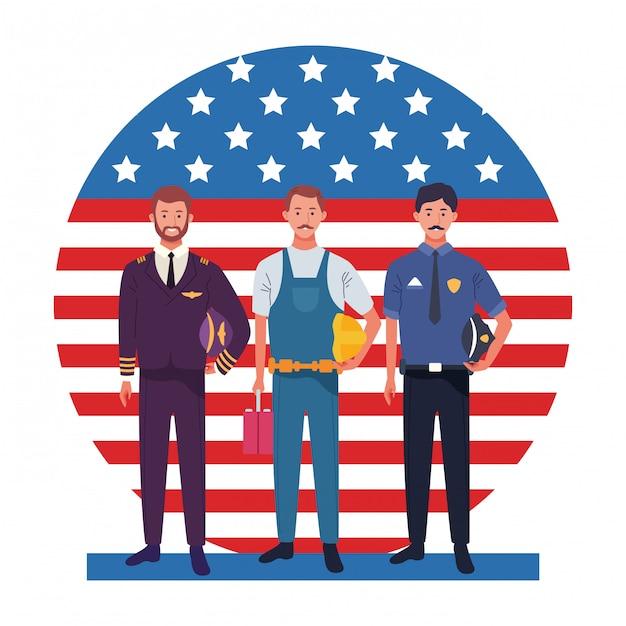 労働者の日雇用職業国民の祭典の専門家労働者の前でアメリカ国旗イラスト Premiumベクター