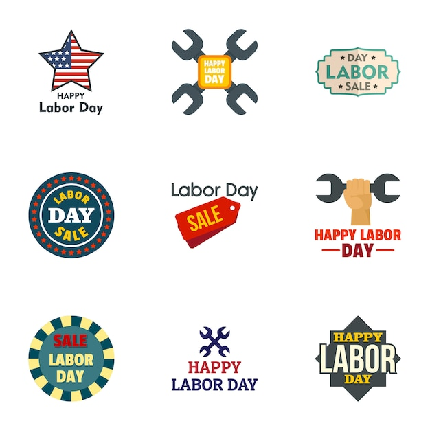 Labor day icon set. flat set of 9 labor day vector Premium Vector