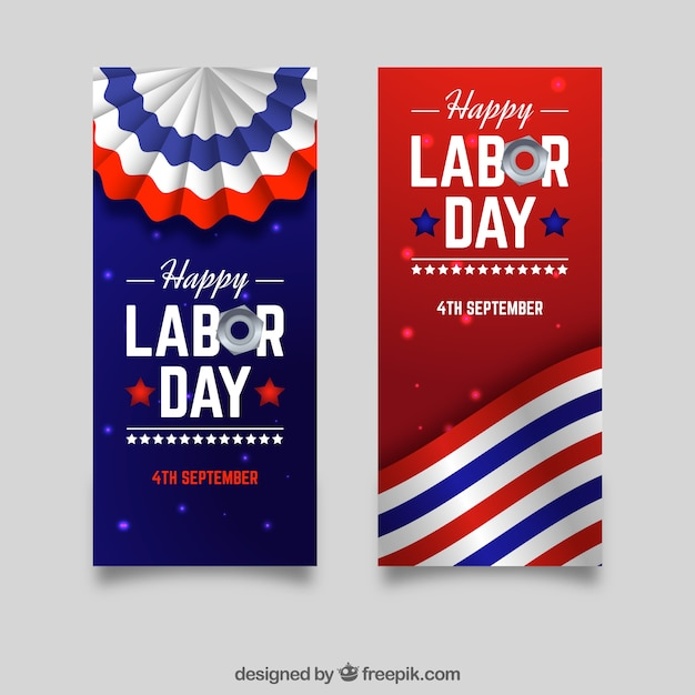 Labor day in the usa banners