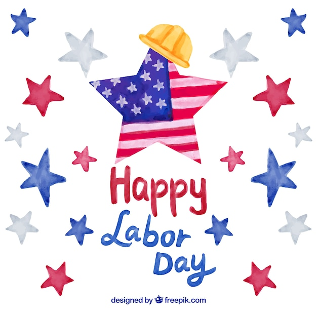 Labor day in usa background with watercolor\ stars