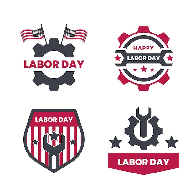 Labor day labels Free Vector