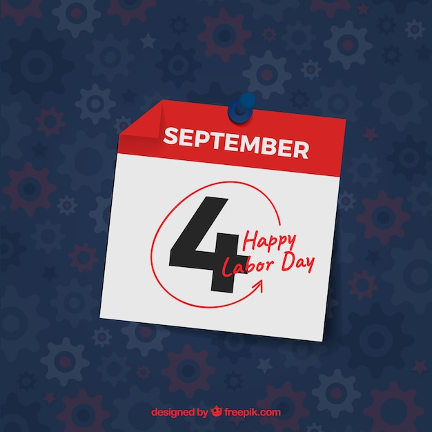 Labor day marked on the calendar Premium Vector