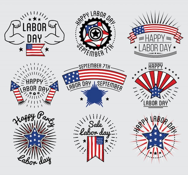 Labor Day National Holiday Of The United States Set Badge And Labels