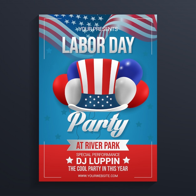 Labor day party flyer template Premium Vector