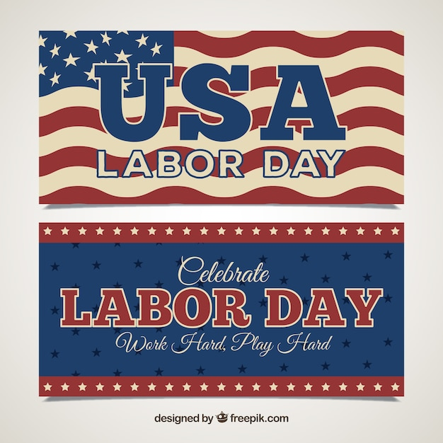Labor day retro banners of american flag