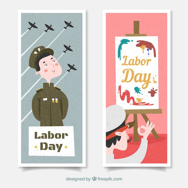 Labor day's banners with soldier and painter in flat design Free Vector