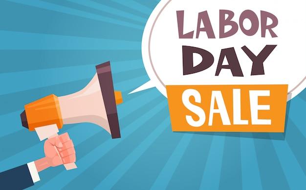 Labor day sale advertising banner with hand holding megaphone 1 may discount concept Premium Vector