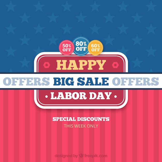 Labor day sale background in flat style