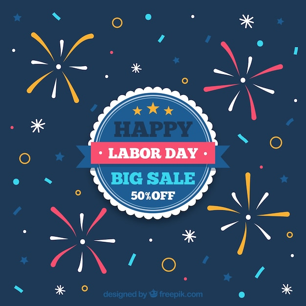 Labor day sale background with fireworks Free Vector