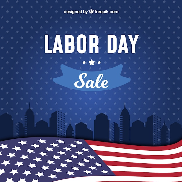 Labor day sale background with flag