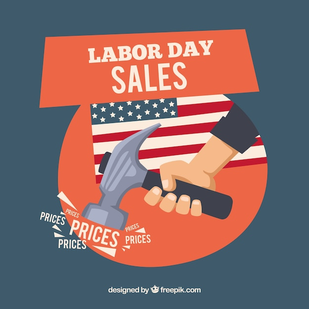 Labor day sale background with hammer Free Vector