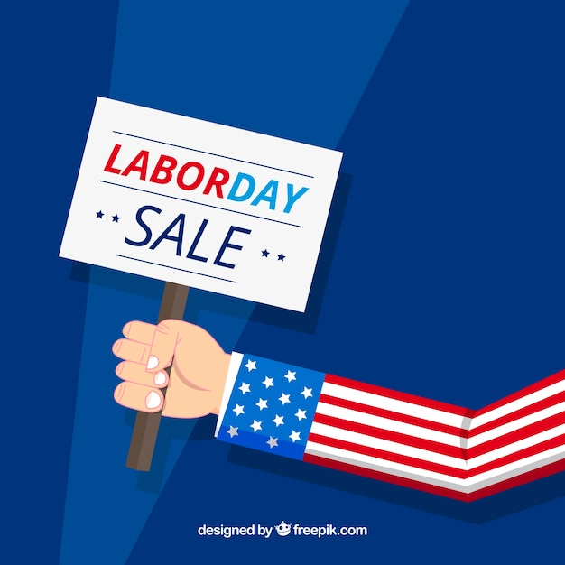 Labor day sale background with sign