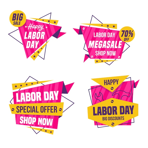 Labor day sale badge collection Premium Vector