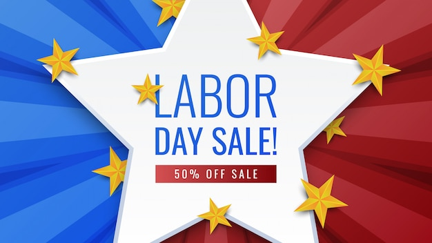 Labor day sale banner Premium Vector