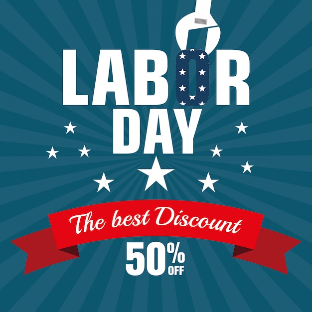 Labor day sale big isolated icon Free Vector