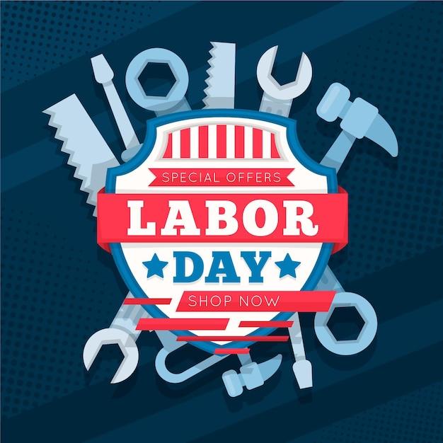 フラットなデザインの労働者の日セール(アメリカ) 無料ベクター