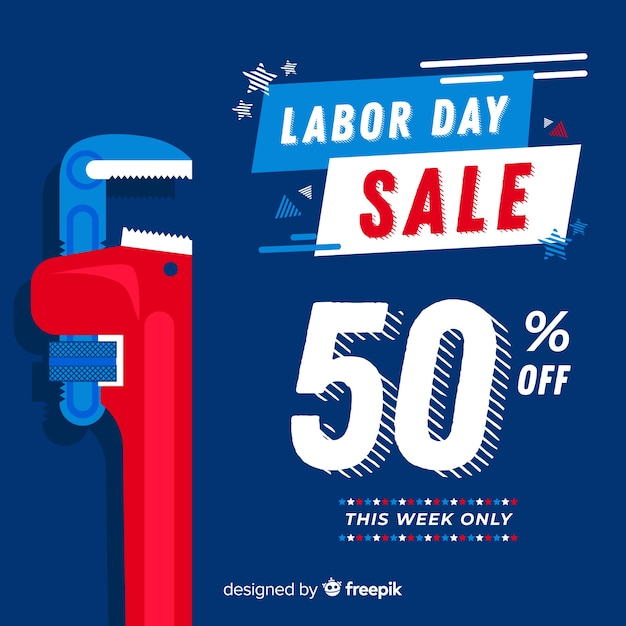 Labor day sales background flat design Free Vector