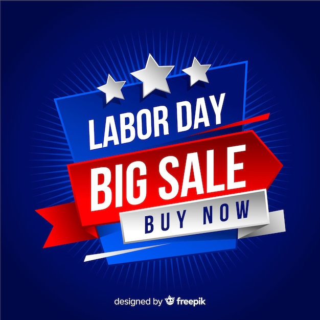 Labor day sales background in realistic style Free Vector
