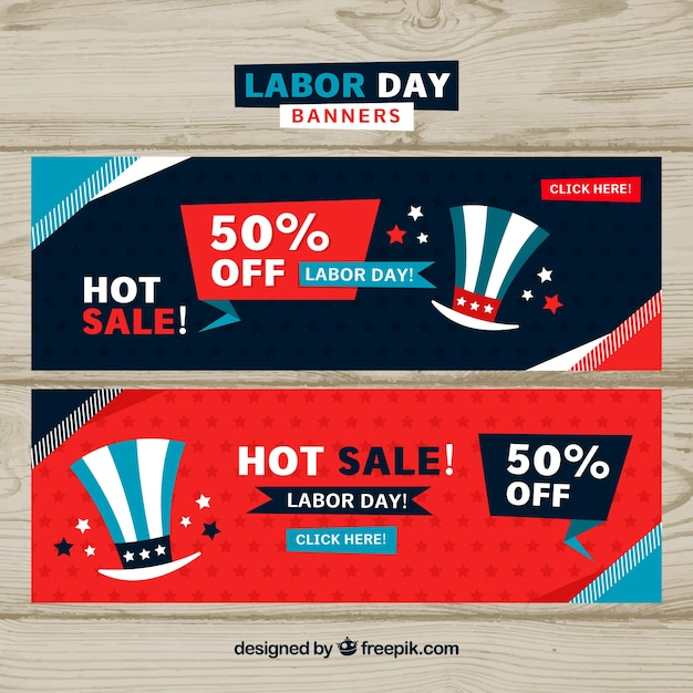Labor day sales banners with hat