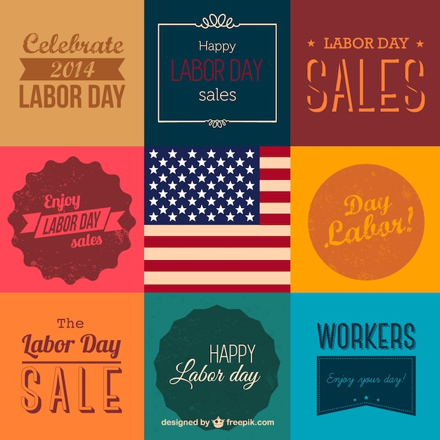 Labor day sales labels collection