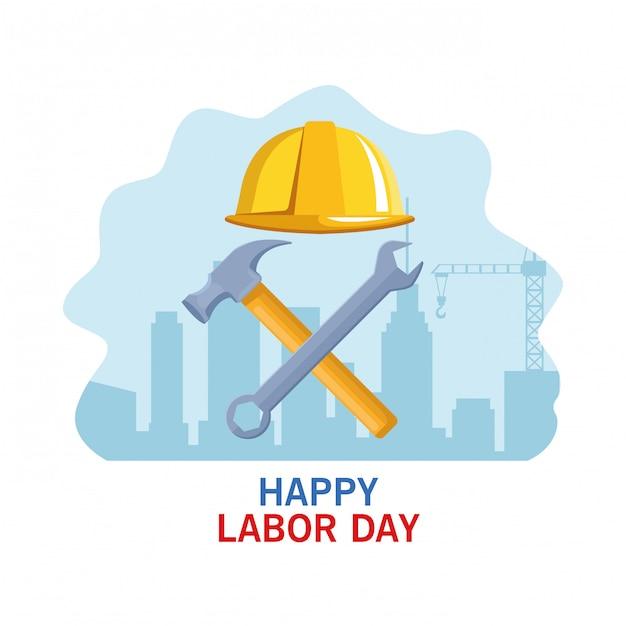 Labor day usa celebration cartoon Premium Vector