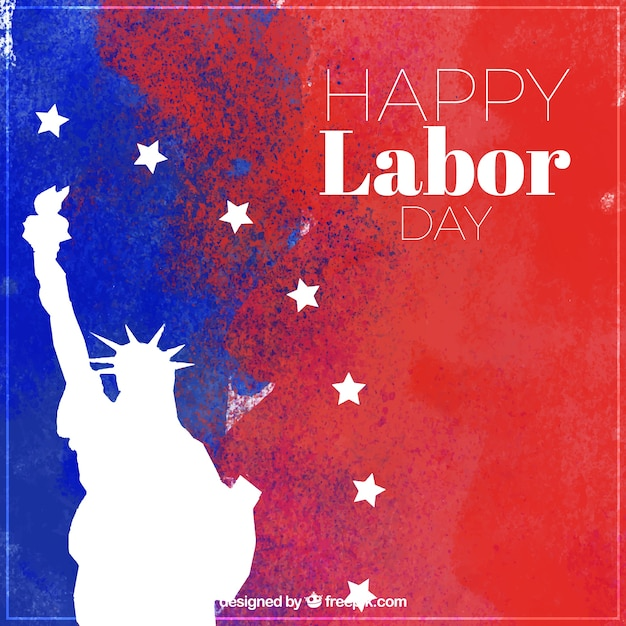 Labor day watercolor background with statue of liberty