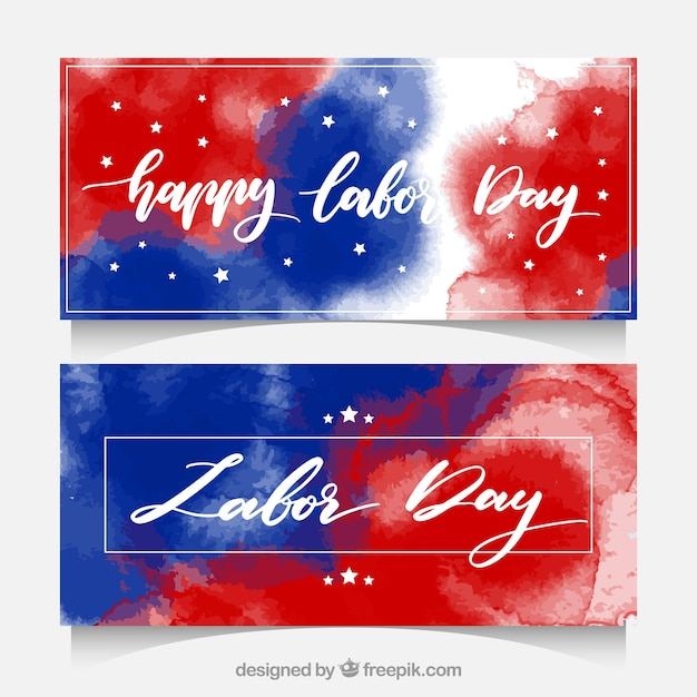 Labor day watercolor banners in usa