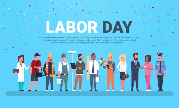 Labor day with people of different occupations Premium Vector