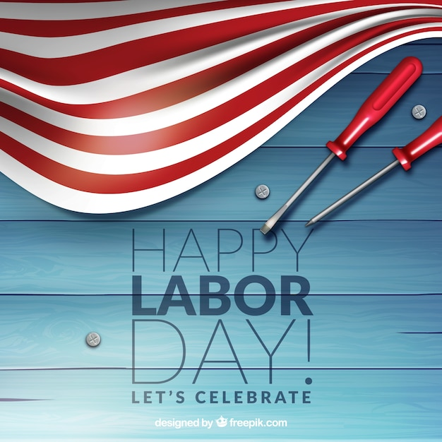 Labor day with screwdrivers and flag\ background