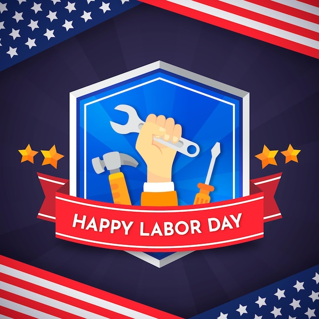 Labor day with tools Free Vector