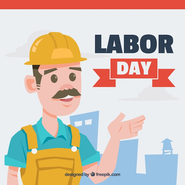 Labor day with worker background