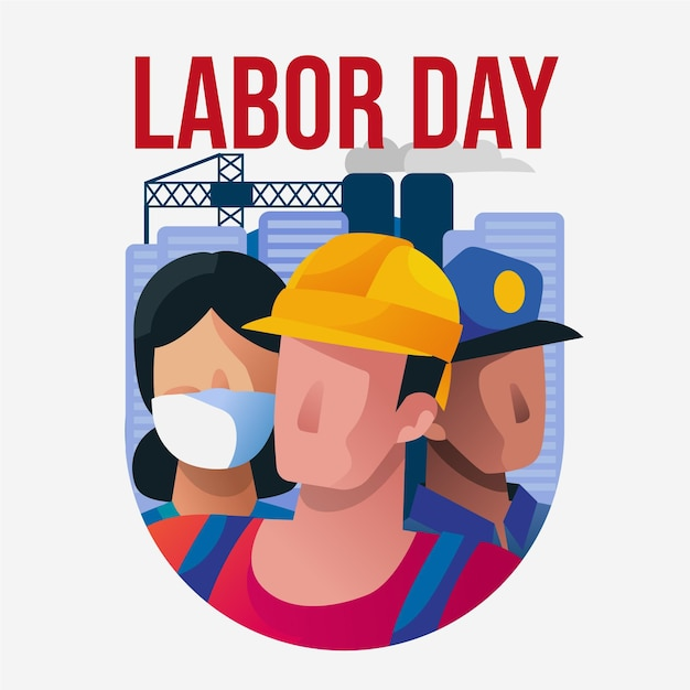 Labor day with workers Free Vector