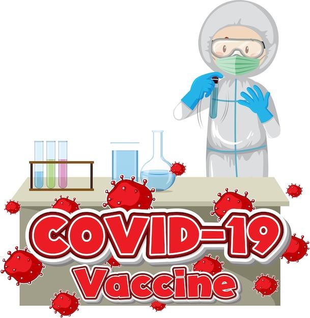 Laboratorian inventando il vaccino covid Vettore gratuito