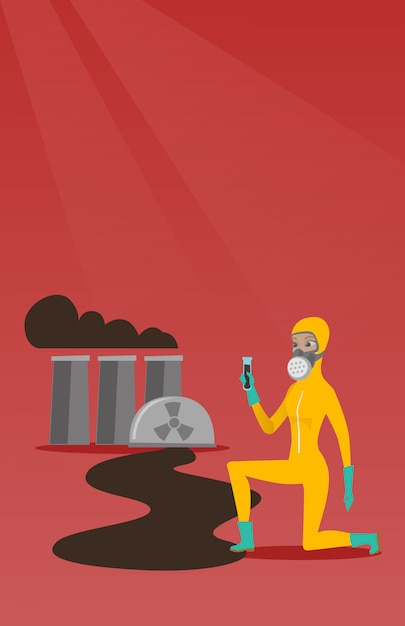 Laboratory assistant with test tube. Premium Vector