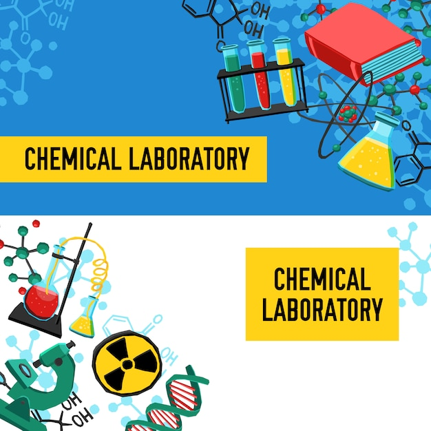 Laboratory banners set Free Vector