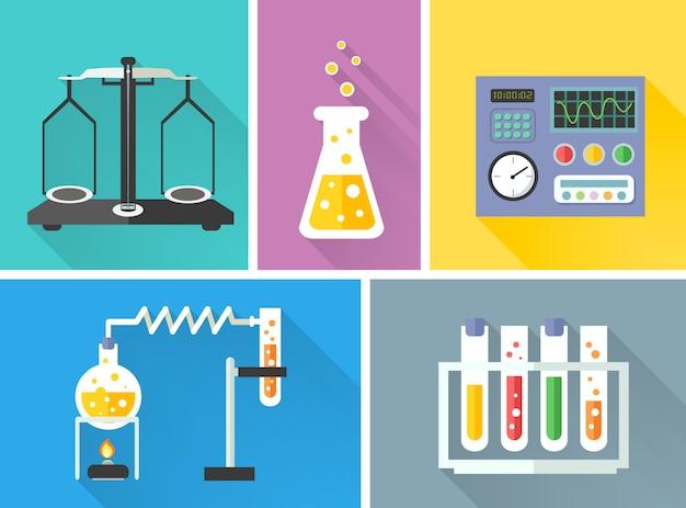 Laboratory equipment elements set Free Vector