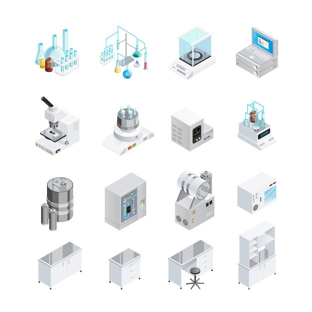 Laboratory equipment icon set Free Vector