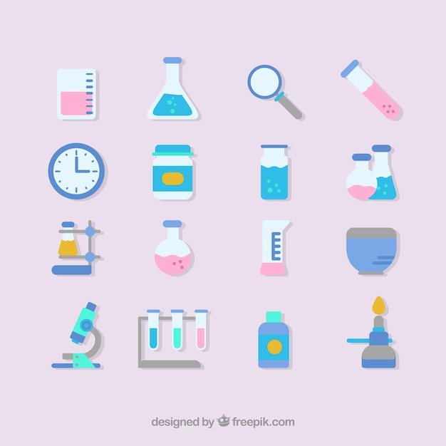 Laboratory equipment icon set Free Vector