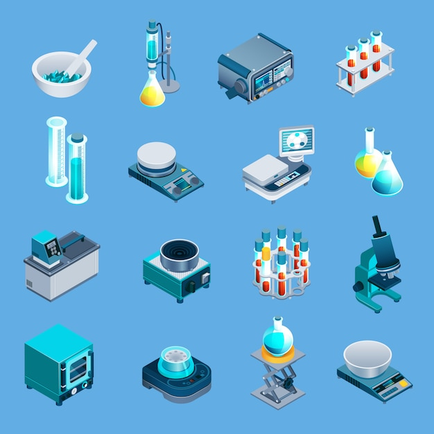 Laboratory equipment isometric icons Free Vector