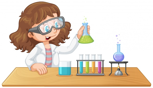 A laboratory girl experiment Free Vector