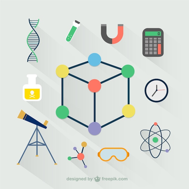 Laboratory icons in flat design Free Vector