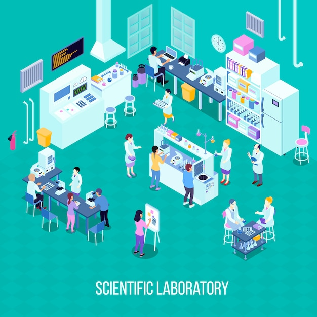 Laboratory isometric composition with staff, scientific equipment with computer technologies, chemical tools Free Vector
