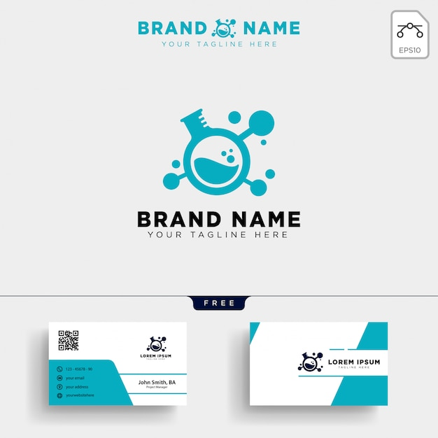 Laboratory share technology logo template and business card Premium Vector