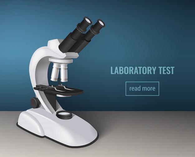 Лабораторный тест с реалистичным микроскопом Бесплатные векторы